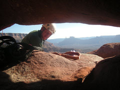 Rock Climbing Photo: Ben on the other side of the hole you have to shim...
