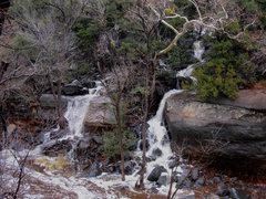 Rock Climbing Photo:   A swollen Oak Creek and the beginning of the app...
