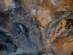 Rock Climbing Photo: The downward view from the anchors.  Speaking in T...