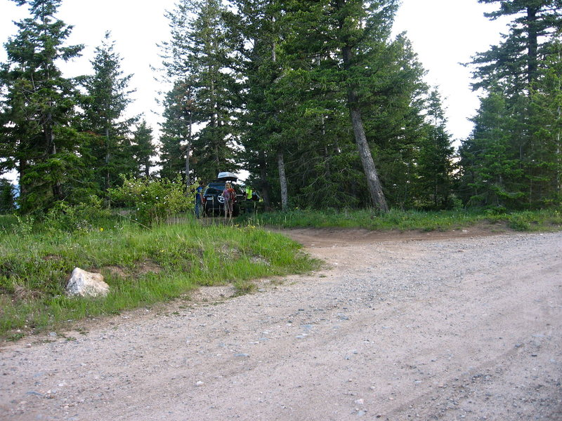 This is the pull off to park in. The trail lies 50 yards up the road at the apex of the switchback.