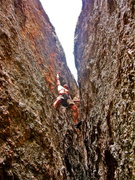 Rock Climbing Photo: Downclimbing thru one of the many little alleys to...