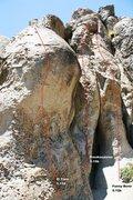 Rock Climbing Photo: The Alchove - Left II Topo