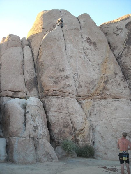 Damien Germano maxing out the TR setup, Dan Bair on belay on a warm summer day at JTree.