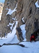 Rock Climbing Photo: Dennis beginning the crux of the route near the to...