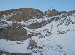 Rock Climbing Photo: Topo of route.  Red is the variation we took.  The...