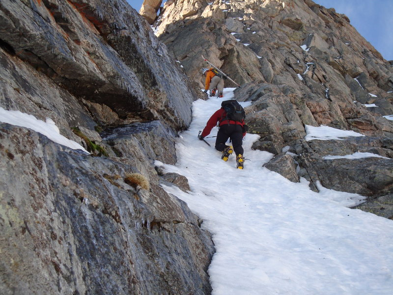 Scott and Dennis climbing the narrow runnel of ice below the main couloir.