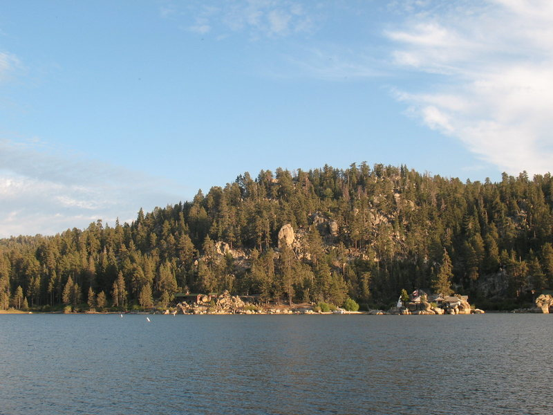 Fisherman's Buttress from across the lake, Big Bear.<br>
