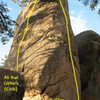 Photo/topo for The Ingot, Holcomb Valley Pinnacles.