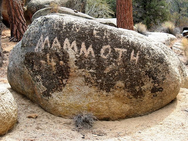 Old marker for the nearby Mammoth Mine, Holcomb Valley Pinnacles