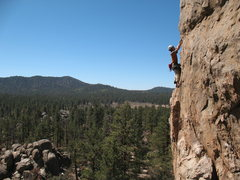 Rock Climbing Photo: High above the trees on Pistol Pete (5.10a), Holco...