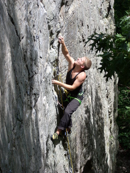 Climber Johnny Clark. First outdoor lead. Pink point courtesy of Rhoads
