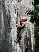 Rock Climbing Photo: Climber Johnny Clark. First outdoor lead. Pink poi...