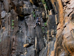 Rock Climbing Photo: Mike Sokoloff surfing into the steep section on hi...
