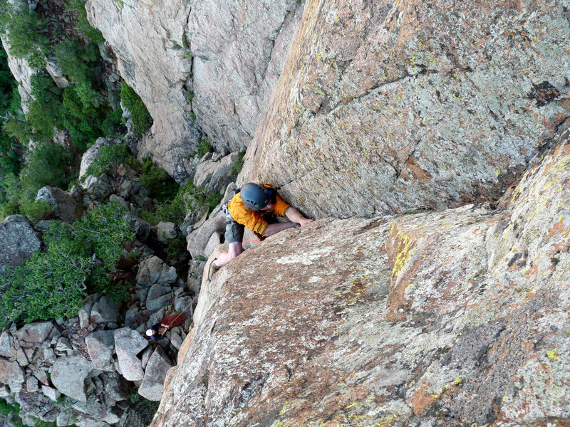 Above the layback to short, wide hands crux of the first pitch.