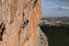 Silvia Fitzpatrick climbing at Loja Train Staion crags