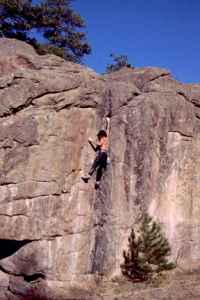 Rock Climbing Photo: BH onsight, hb at Buttonrock, circa 1987, note sma...