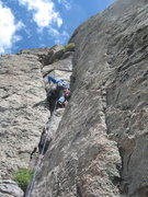Rock Climbing Photo: Tommy headed up P2 to the Bay Window