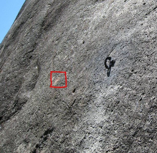 Recently moved second bolt.  Red square is location of original bolt.
