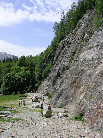 View from the right side of the main crag at Les Gaillands--busy as usual, but plenty of routes to choose from.