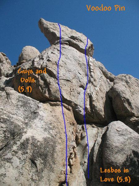 Rock Climbing Photo: Photo/topo for the Voodoo Pin, Holcomb Valley Pinn...