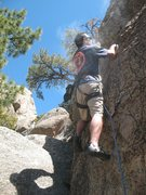 Rock Climbing Photo: Loren on Hook and Ladder (5.6), Holcomb Valley Pin...