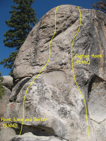 Photo/topo for Peyronie's Wall (East Face), Holcomb Valley Pinnacles <br>