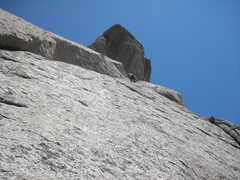 """Rock Climbing Photo: Tristan nearing the end of Pitch #6, """"The Gre..."""