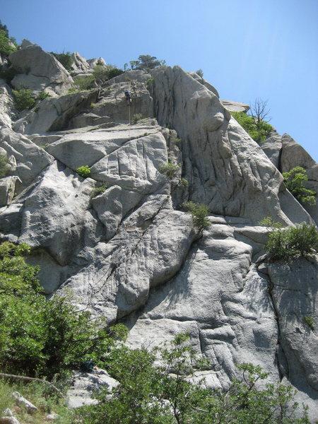 Rock Climbing Photo: Tom cranking to the summit