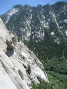 Rock Climbing Photo: Mezzanie arete with Inertia Creeps slab to the lef...