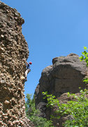 Rock Climbing Photo: Perin Blanchard on Reach for the Sky.  Photo by Jo...