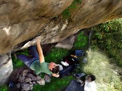 "Rock Climbing Photo: Kevin sending the mega classic ""Wisdom.""..."