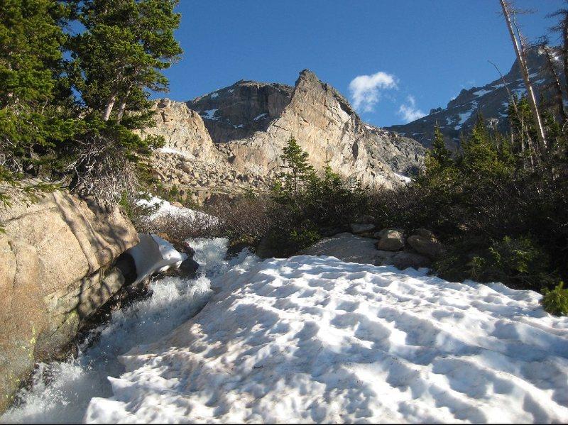 Rock Climbing Photo: Crescent Ridge with the summit of Pagoda Mountain ...