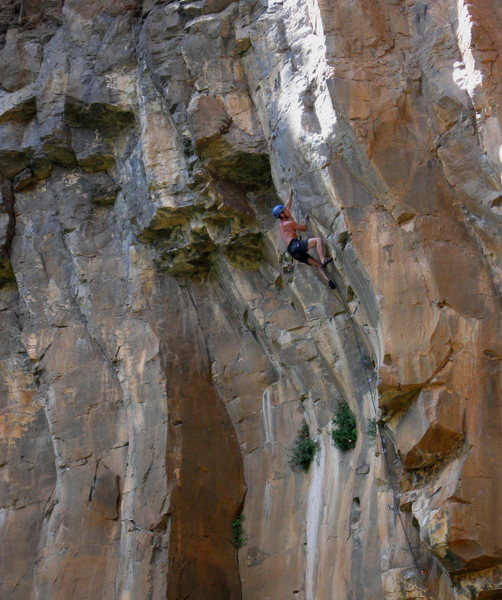 Rock Climbing Photo: Mike S. moving into the high crux...  Brilliant!