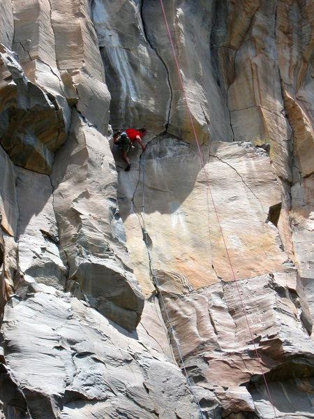 Rock Climbing Photo: Josh Janes moving into it on the FA.