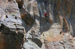 Rock Climbing Photo: Josh Janes on the FA, caught in hard light and har...