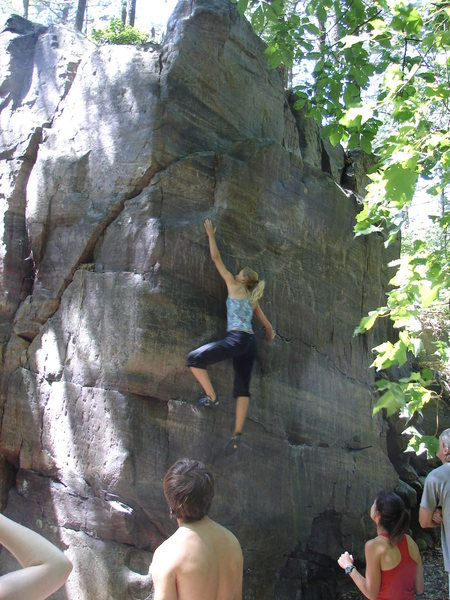 Rock Climbing Photo: Lisa going for it.