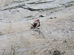 Rock Climbing Photo: Jeff pulling out of the half circle on All Too Obv...