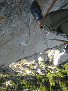 "Rock Climbing Photo: Looking down pitch 5's ""Railroad Tracks.&quot..."