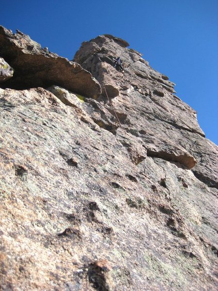 High on the buttress.  Photo by Mark Oveson.