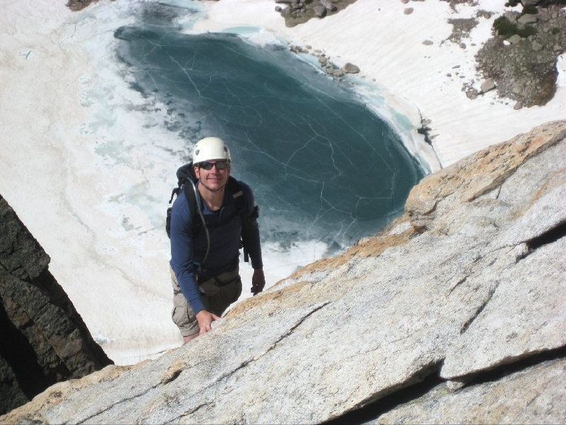 On the upper slab, looking down at Keplinger Lake.  Photo by Bill Wright.