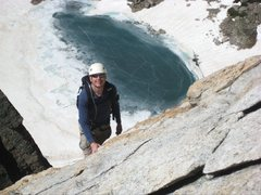 Rock Climbing Photo: On the upper slab, looking down at Keplinger Lake....
