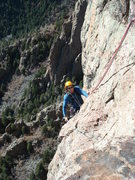 Rock Climbing Photo: Marc Ripp coming into the crux section of pitch 4 ...