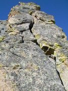Rock Climbing Photo: The offwidth crack on the 4th pitch.