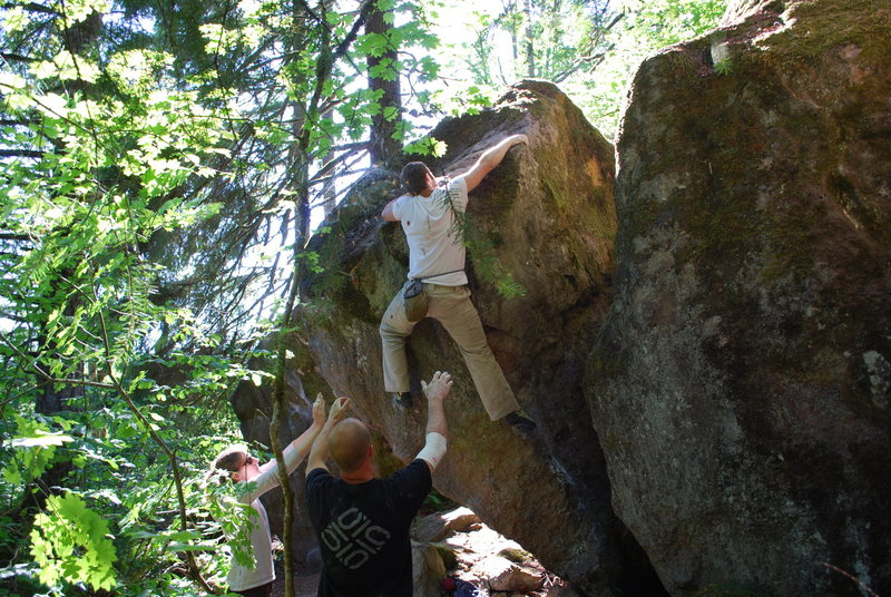 Rock Climbing Photo: Matt preparing to move over the lip on The Ear.