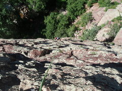 Rock Climbing Photo: Super fun, easy climbing after the initial overhan...