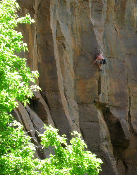 Keith Beckley powering through the crux on his onsight!