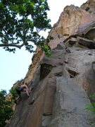 Rock Climbing Photo: Keith dealing with the crux...  The route ends abo...