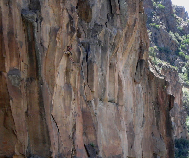 David Daily moving into the upper crux.