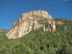 Rock Climbing Photo: View of the whole butress.  Red line is Elysium.