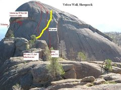 Rock Climbing Photo: The yellow line is the approximate location of the...